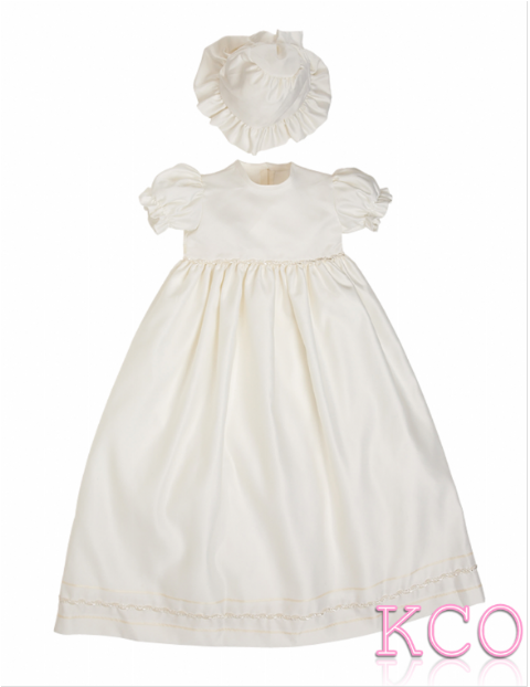 Braid Christening Gown Ivory